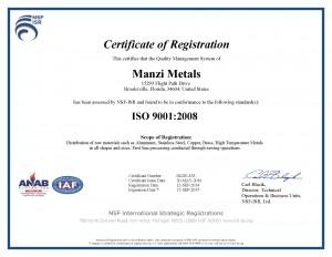 Manzi Metals ISO9001 Cert (exp2017)